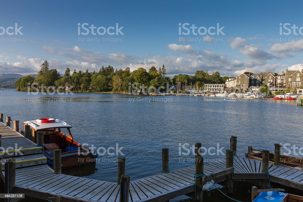 Bowness-on-Windermere harbor view, Lake District in Cumbria, UK stock photo
