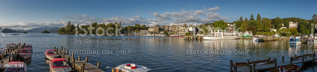 Bowness-on-Windermere panoramic harbor view in afternoon light, Lake District stock photo