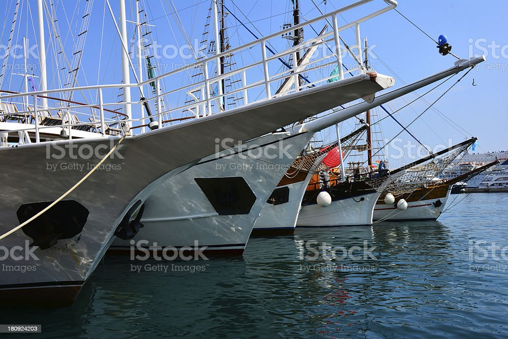 Bows of touristic ships royalty-free stock photo