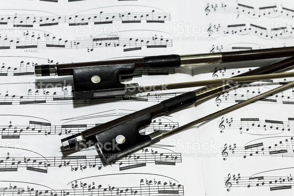 Bows with Sheet Music royalty-free stock photo