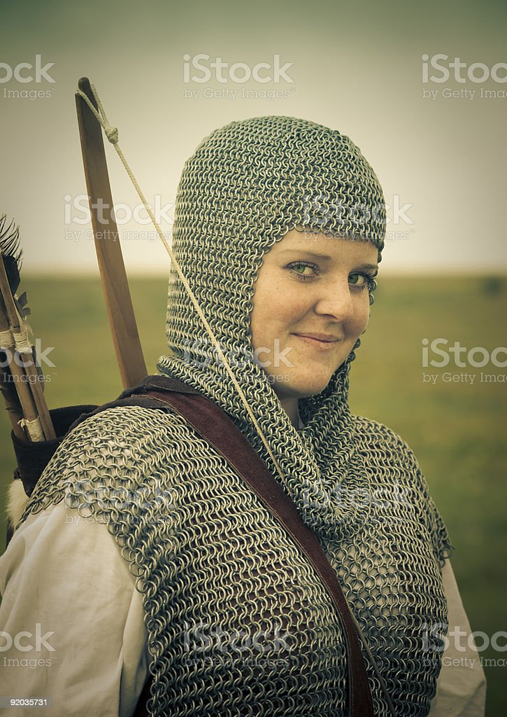 bows woman,  medieval armor / historical story   royalty-free stock photo