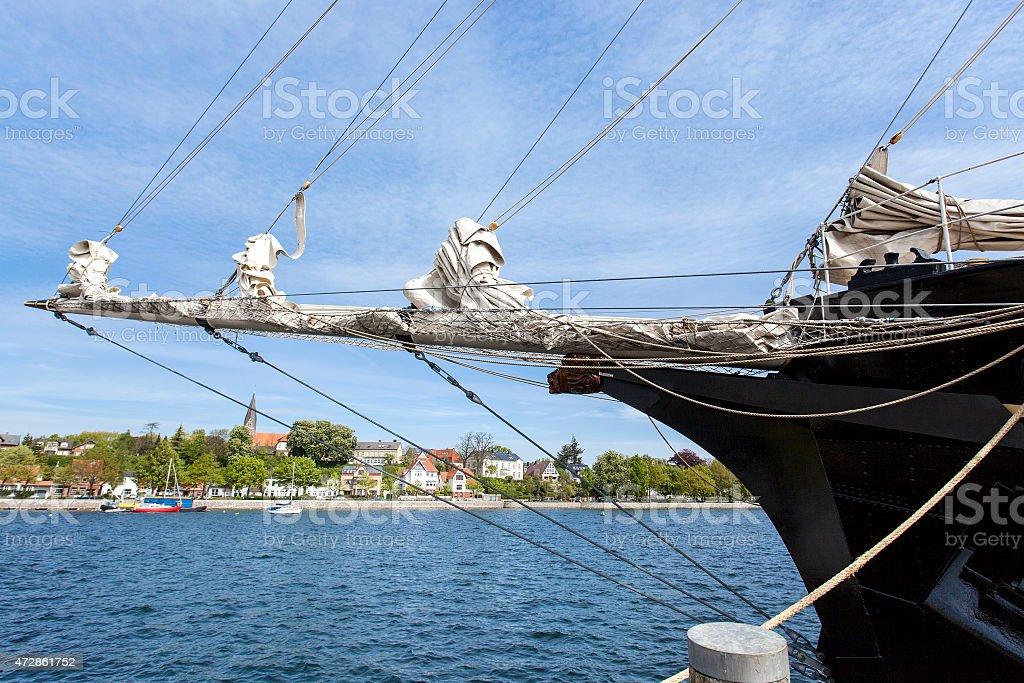 Bowsprit of a schooner stock photo