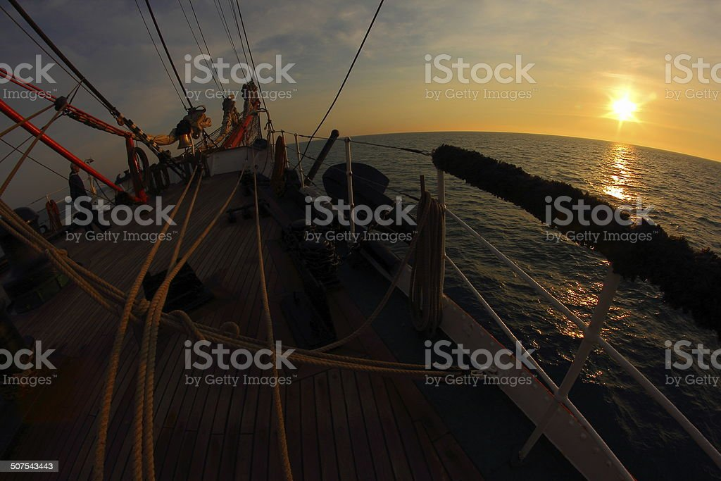 bowsprit of an old sailing ship stock photo