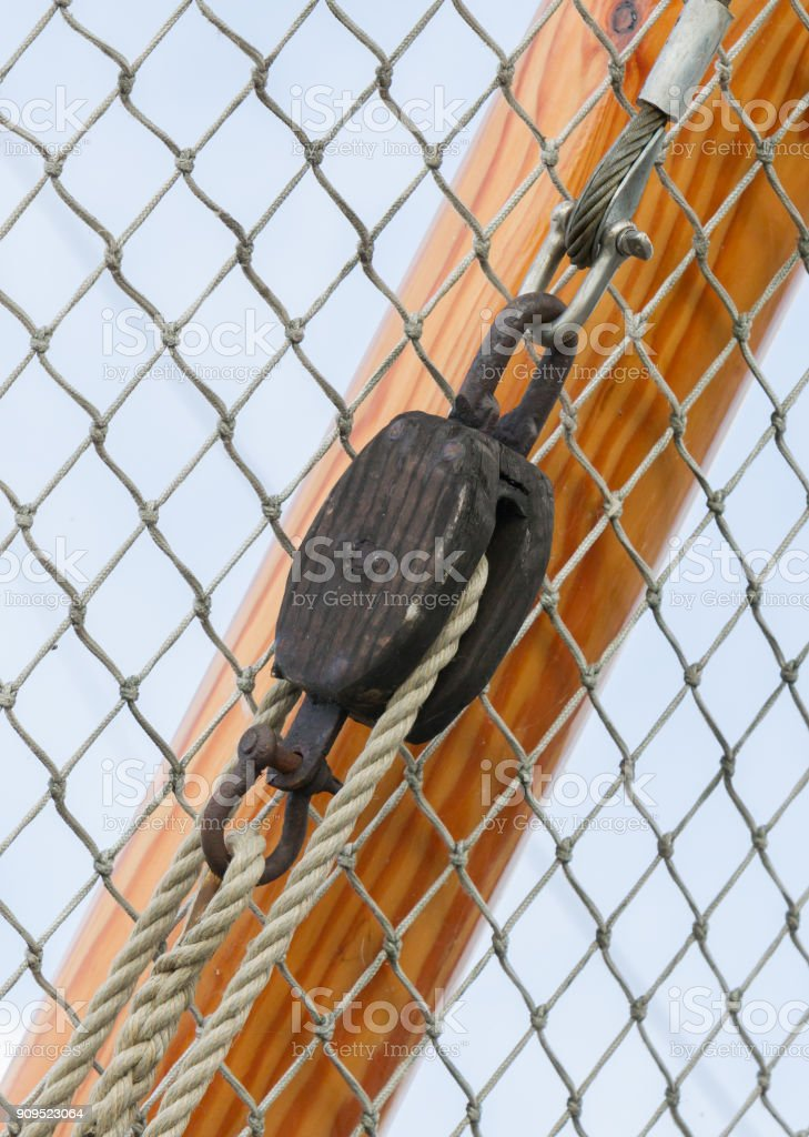 Bowsprit tree in front of a fishing boat stock photo