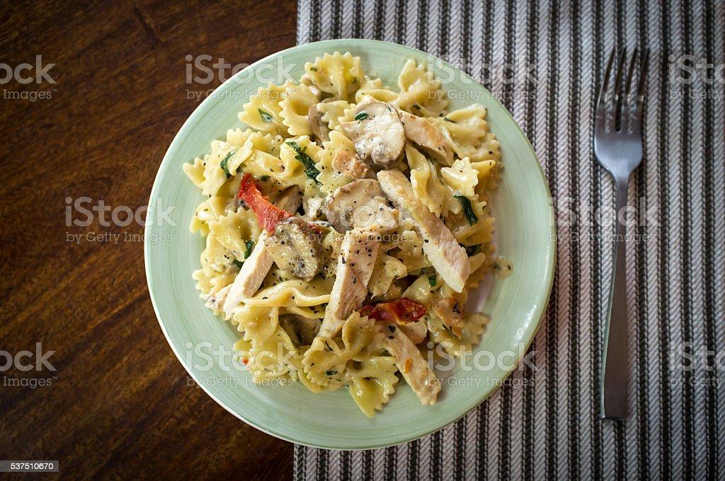 Bowtie Chicken Alfredo stock photo