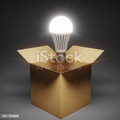 istock Box And Led Bulb Thinking Outside The Box 641784608