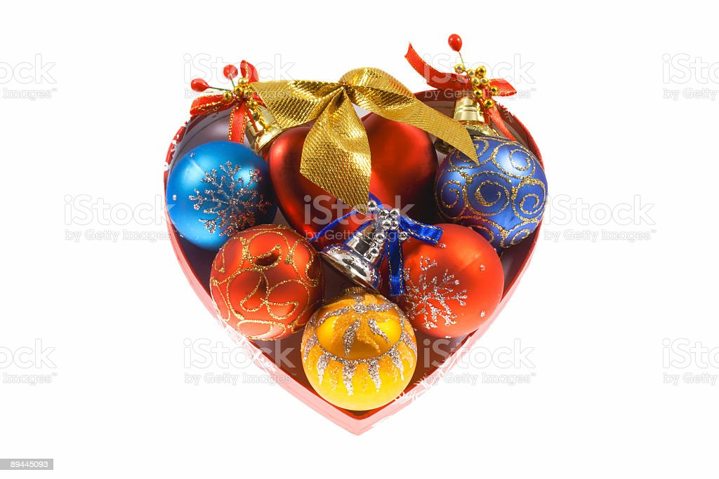 Box as heart with traditional christmas spheres royalty-free stock photo