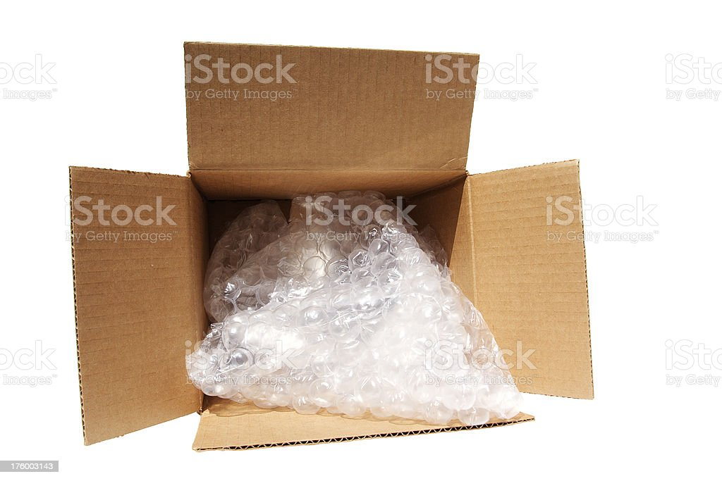 box, bubble wrap and clipping path stock photo