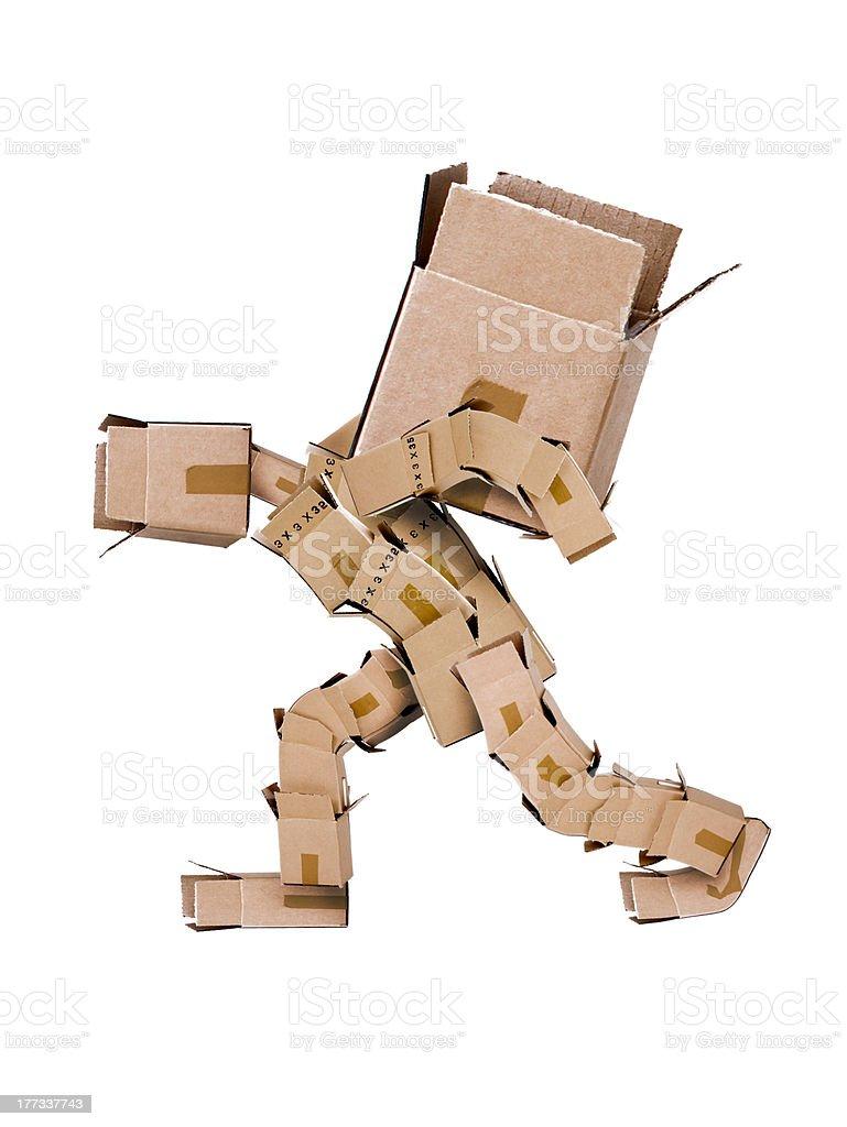 Box character hauling large box royalty-free stock photo