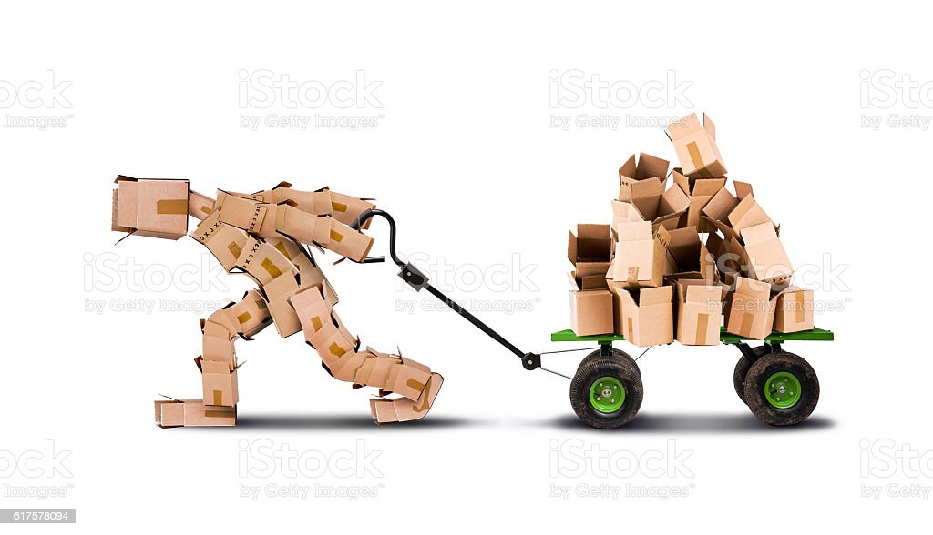 Box character moving boxes on trolley stock photo