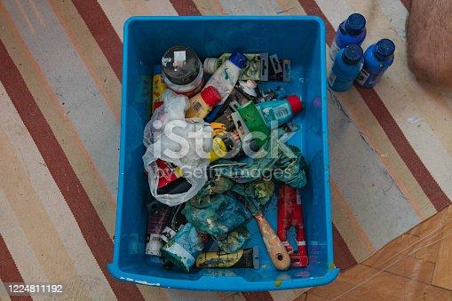 istock Box containing art equipment 1224811192