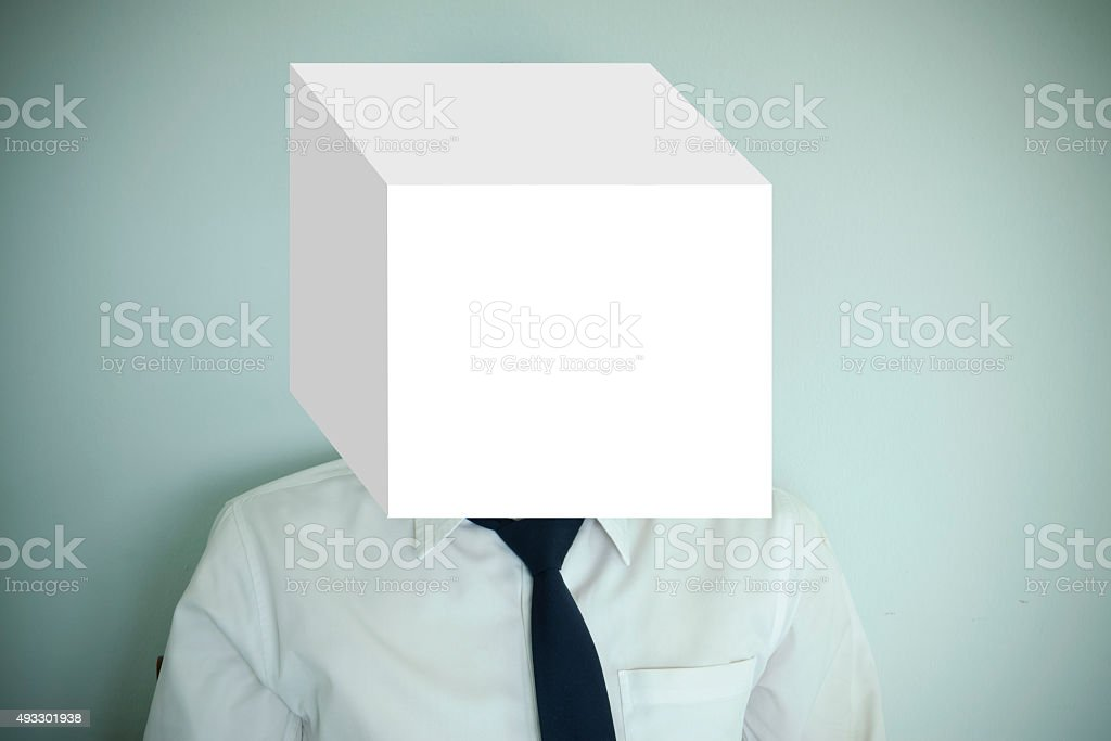 box cover businessman with space for text , business idea concept stock photo