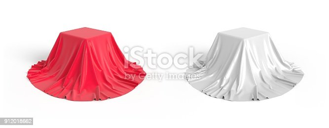 istock Box covered with satin fabric 3D illustration 912018662