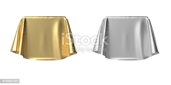 istock Box covered with shiny satin fabric 3D illustration 916562302