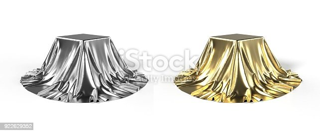 istock Box covered with shiny satin fabric 3D illustration 922629352