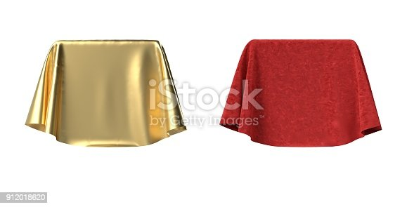 istock Box covered with velvet and satin fabric 3D illustration 912018620