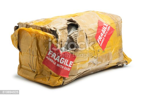 This is a photo of a box that was damaged during shipping. The background is a pure white and there is a clipping path included.
