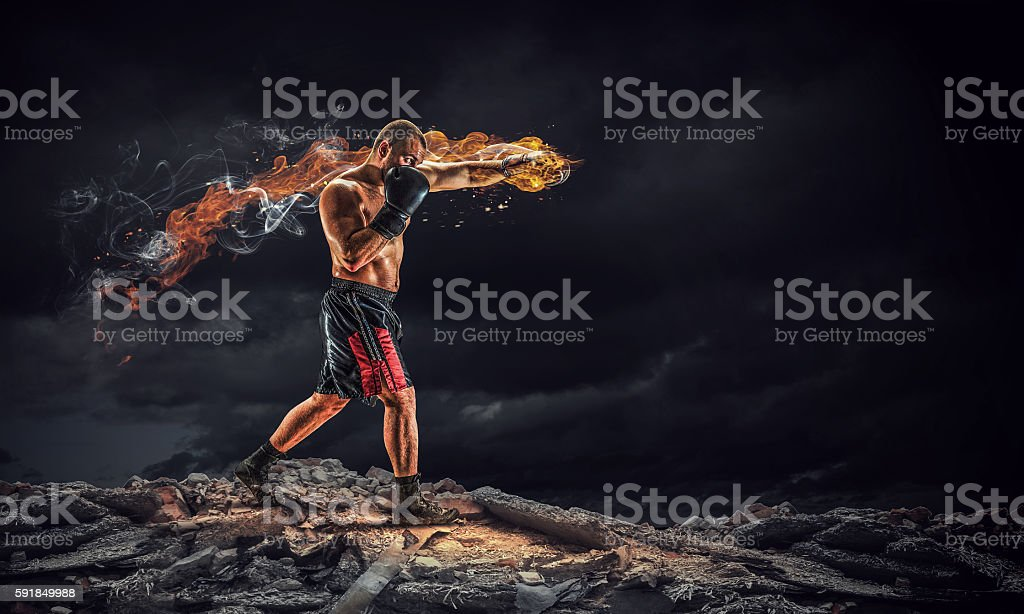 Box fighter trainning outdoor . Mixed media stock photo