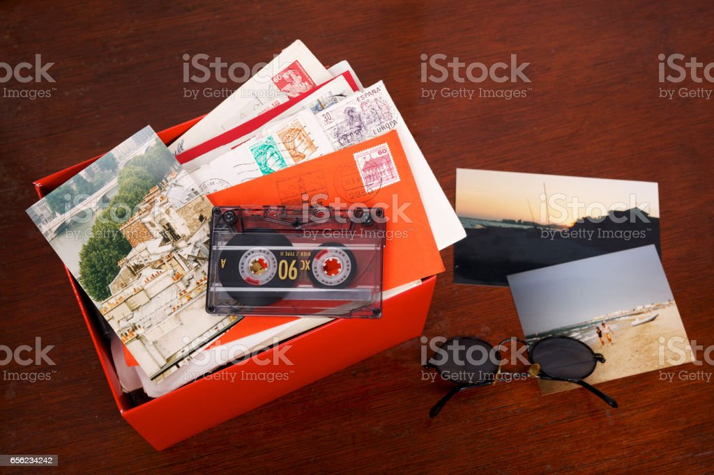Box filled with memories of letters and photos stock photo