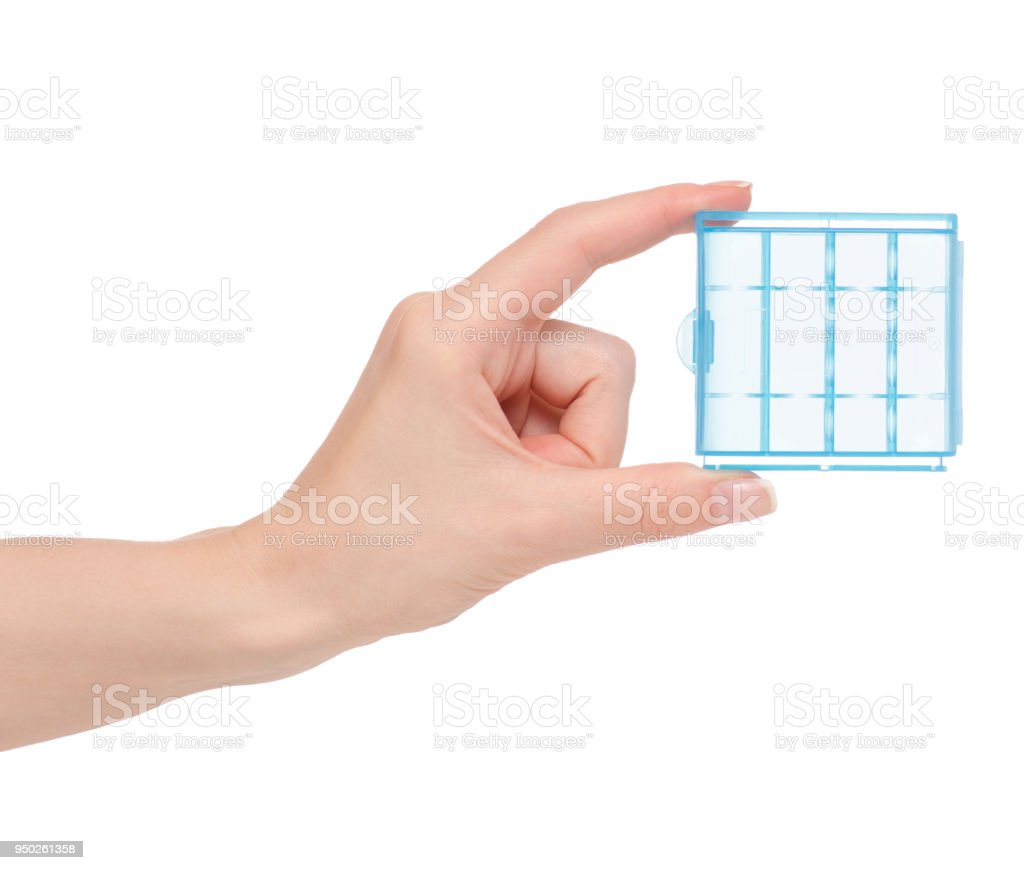 Box for batteries in hand stock photo