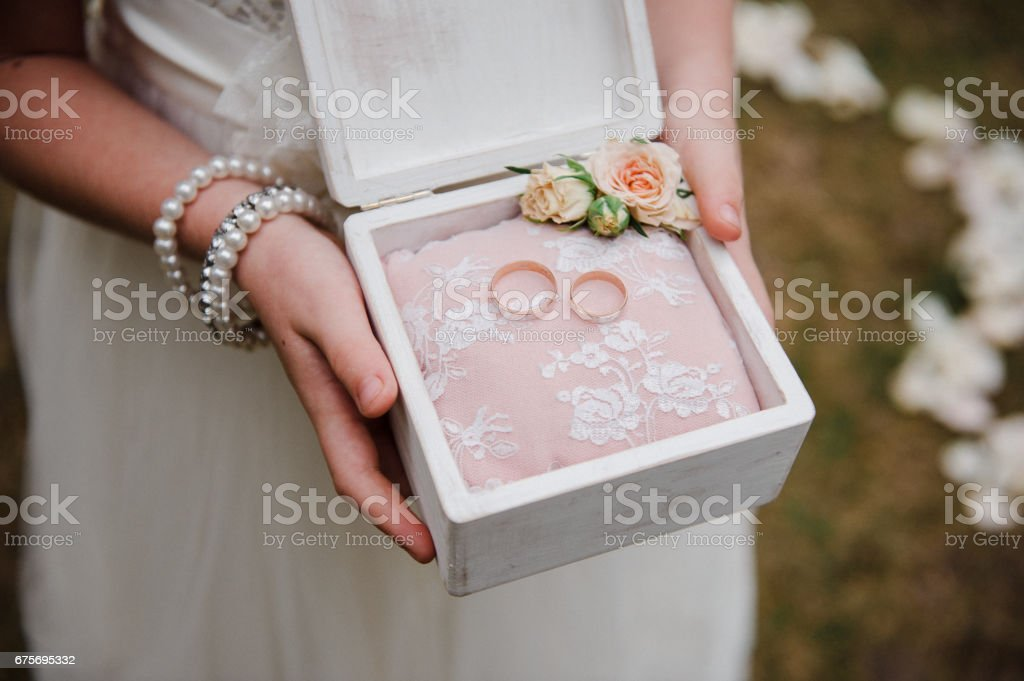 A box for rings in the hands of a girl. Wedding details. royalty-free stock photo