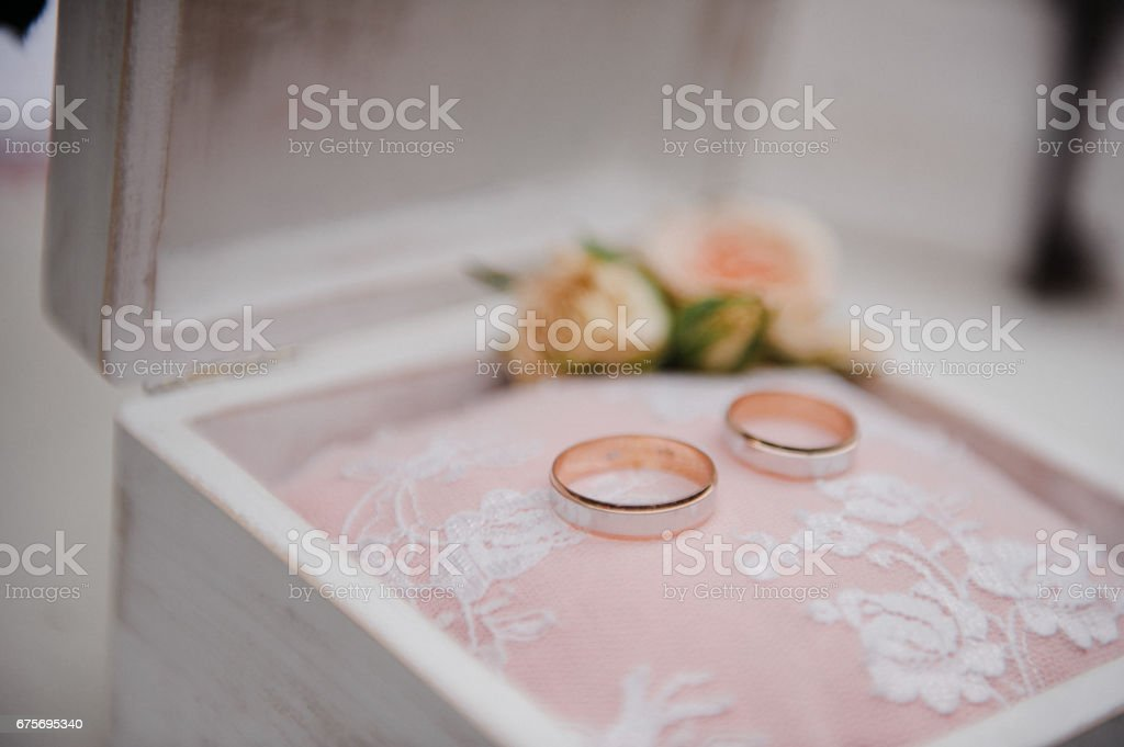 A box for rings. Wedding details. royalty-free stock photo