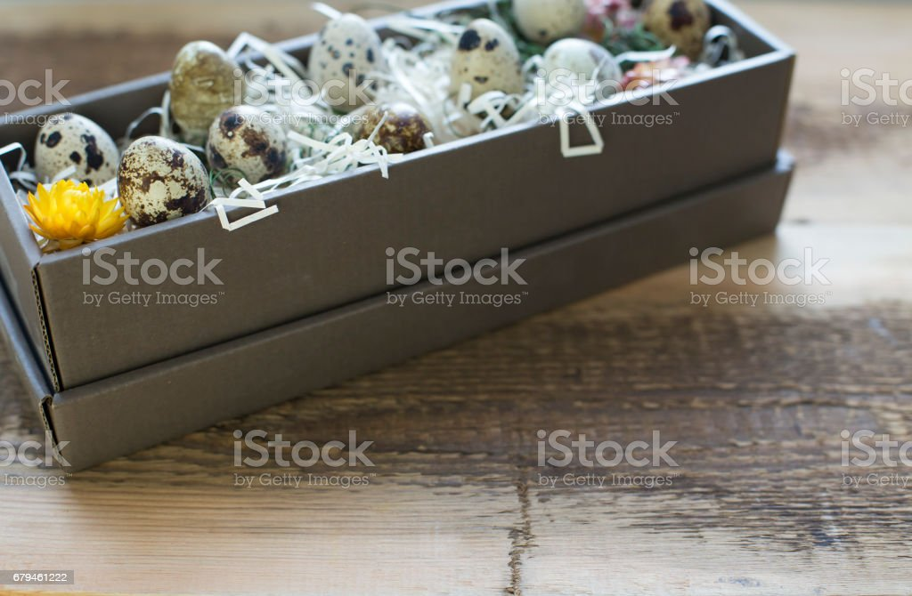 Box full of easter eggs royalty-free stock photo