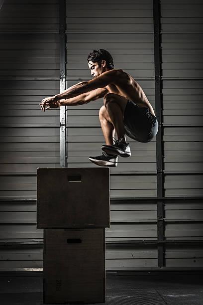 Box Jump gym stock photo