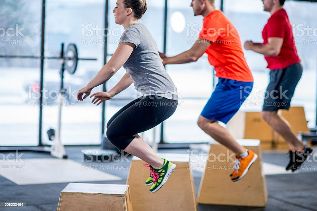 Box Jumps at the Gym stock photo