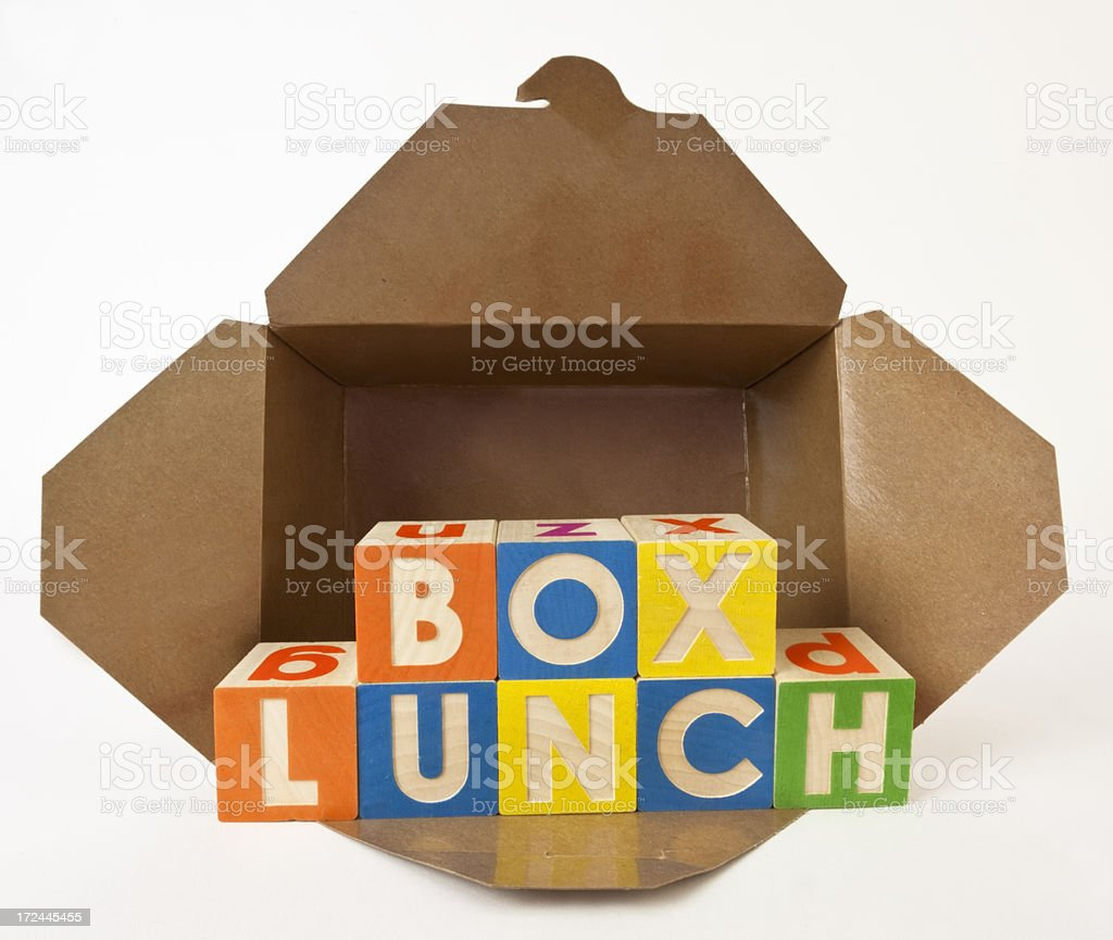 Box Lunch Spelled with Toy Box royalty-free stock photo