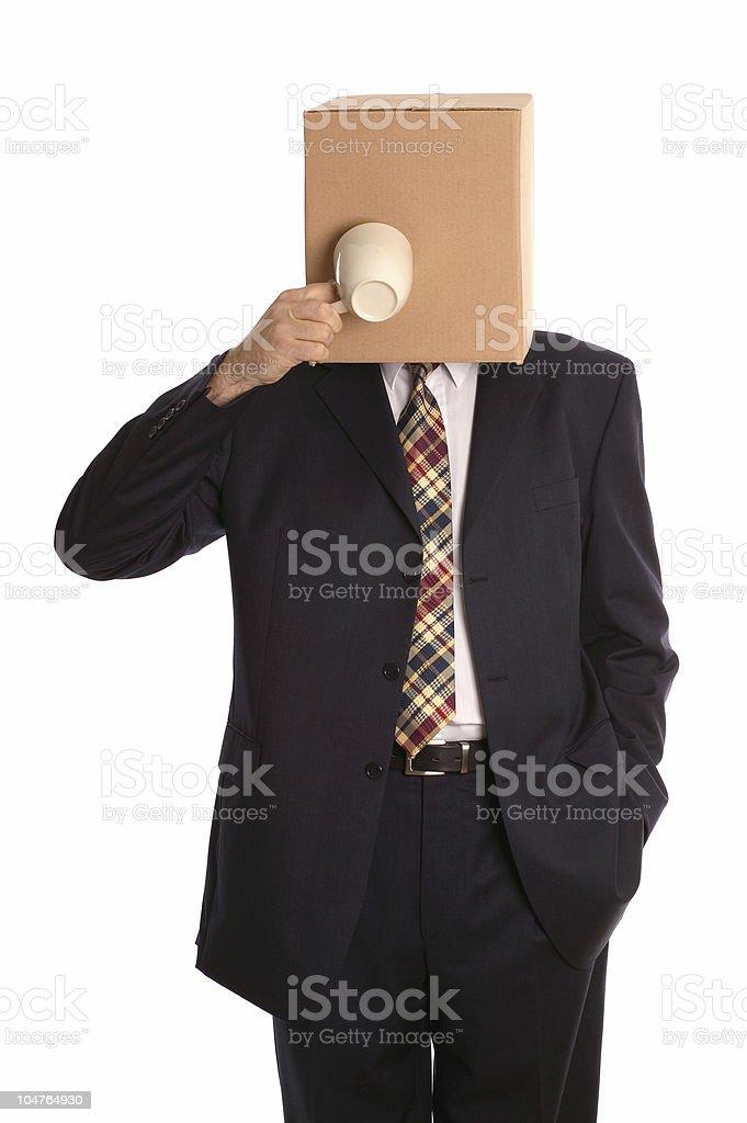 Box man coffee break royalty-free stock photo