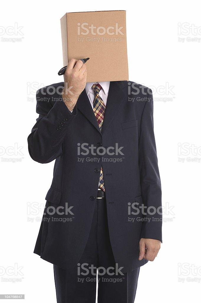 Box Man - draw a face. royalty-free stock photo