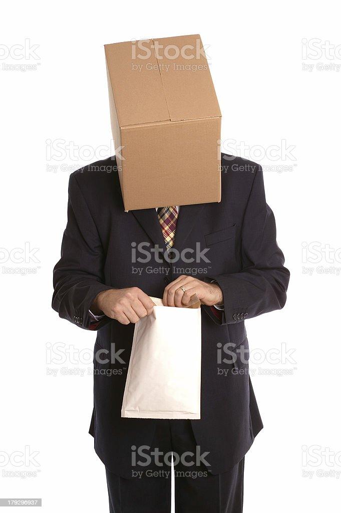 Box man opening envelope royalty-free stock photo