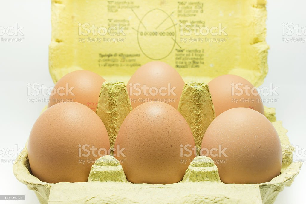 box of 6 eggs royalty-free stock photo