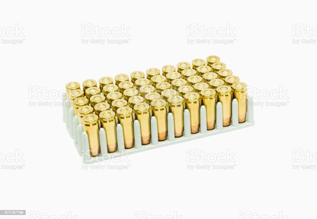 A box of 9mm luger ammo isolated on white stock photo