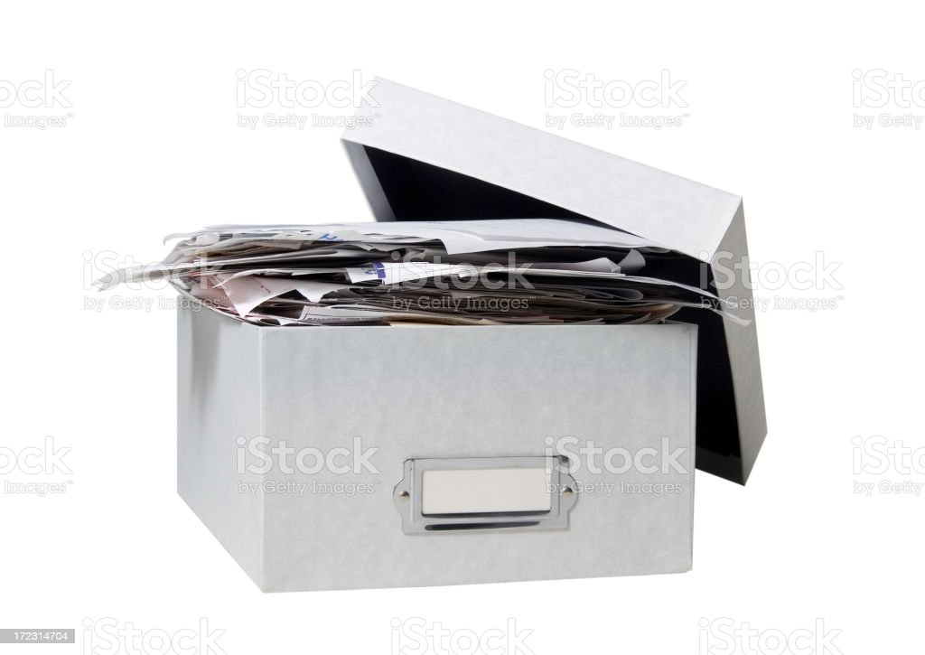 Box of Bills (WITH CLIPPING PATH) stock photo