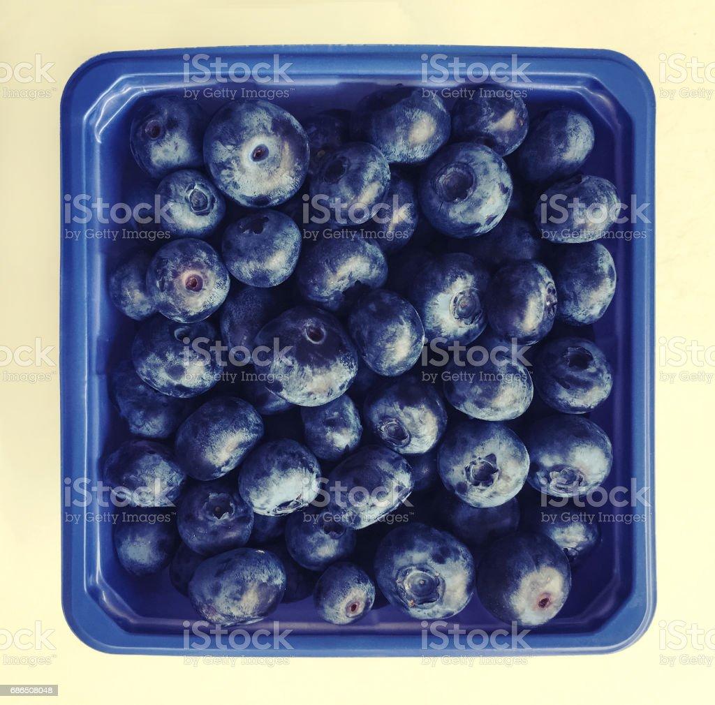 Box of blueberries zbiór zdjęć royalty-free