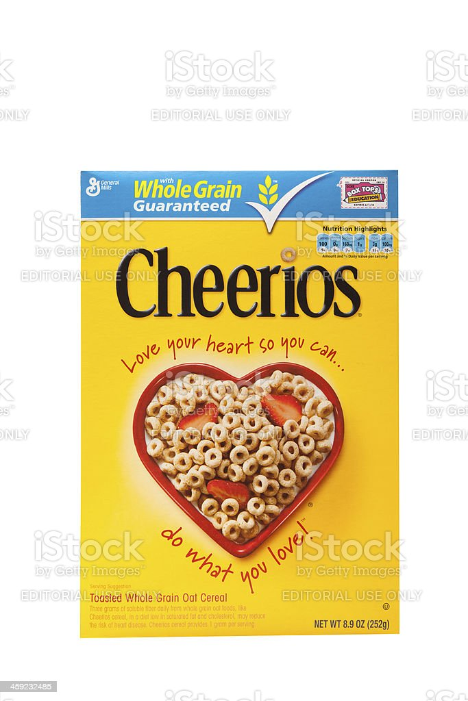 Box of Cheerios Whole Grain Cereal by General Mills stock photo
