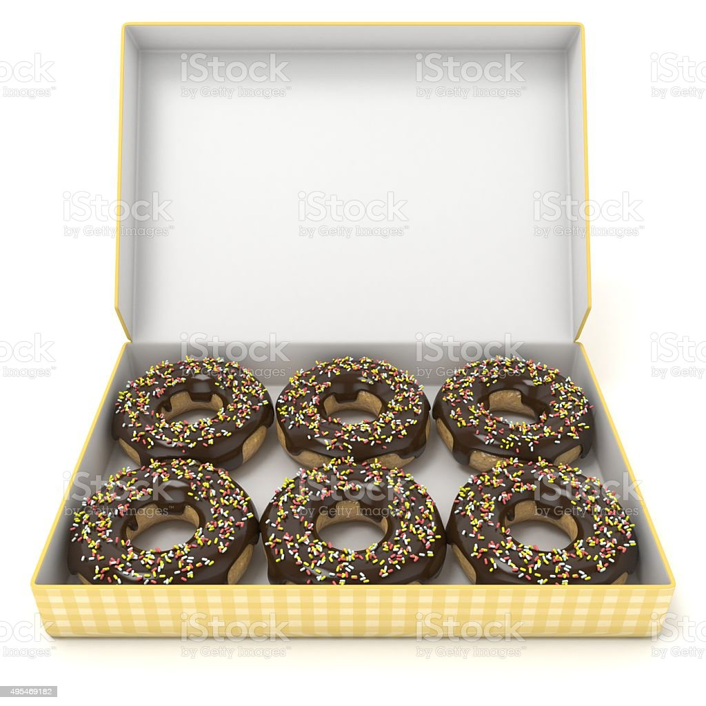 Box of chocolate donuts. Front view. 3D render stock photo