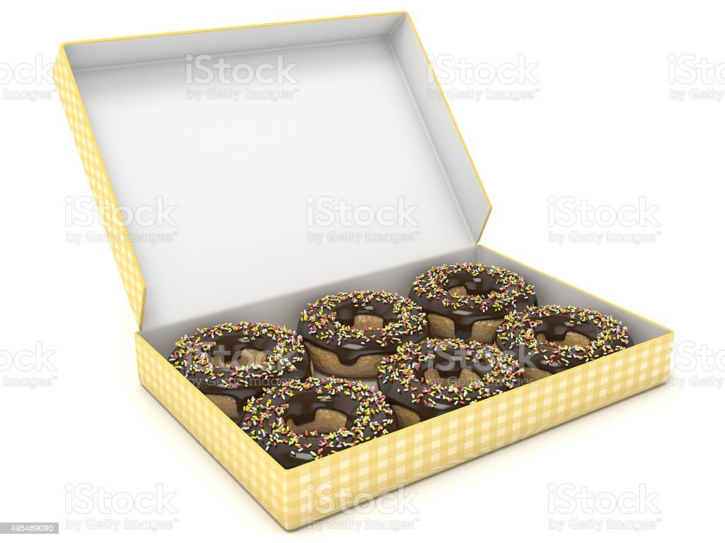 Box of chocolate donuts. Side view. 3D render stock photo