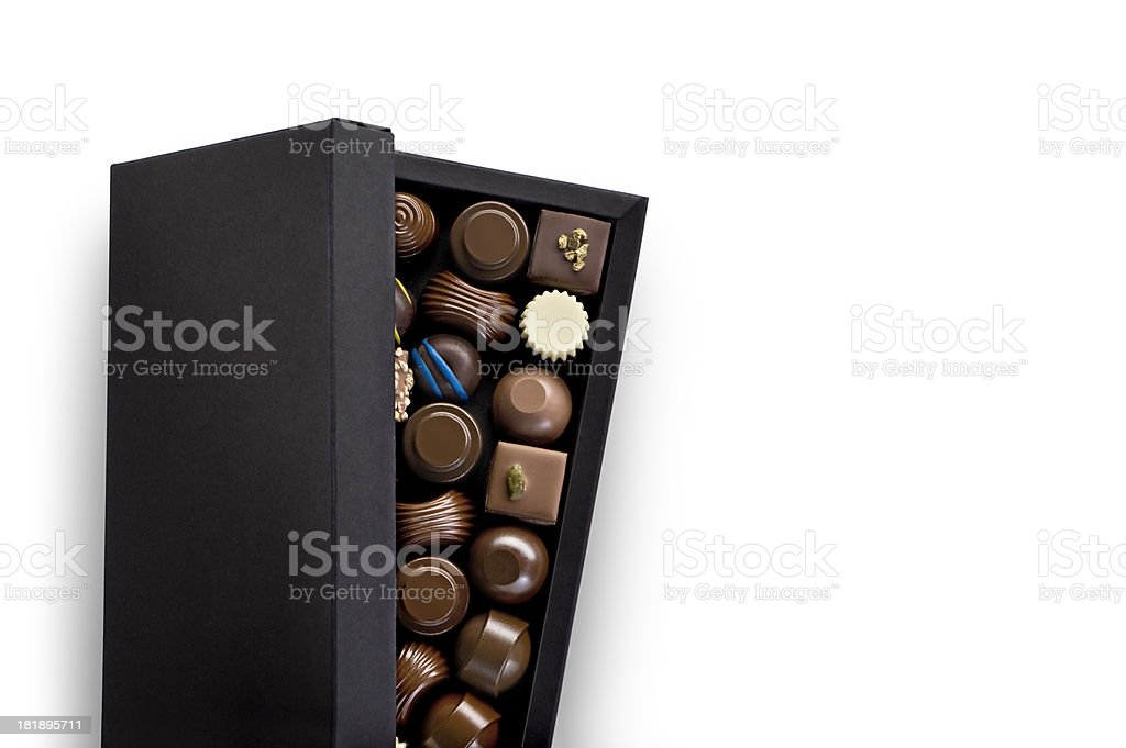 Box Of Chocolate Pralines.Color Image stock photo