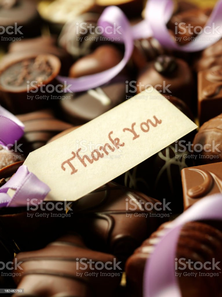 Box of Chocolates and Thank You Label royalty-free stock photo