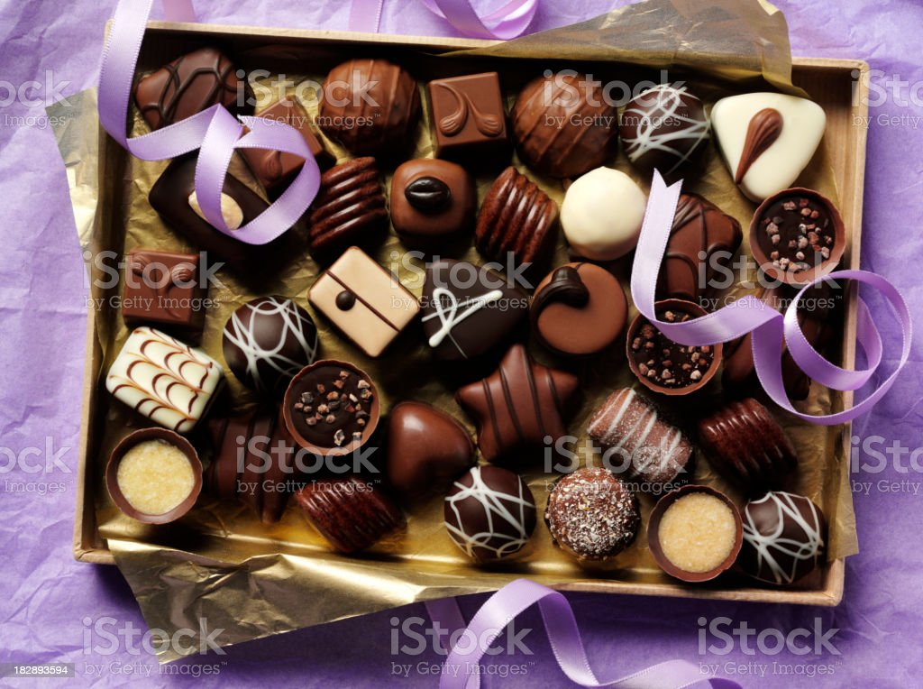 Box of Chocolates on Paper stock photo