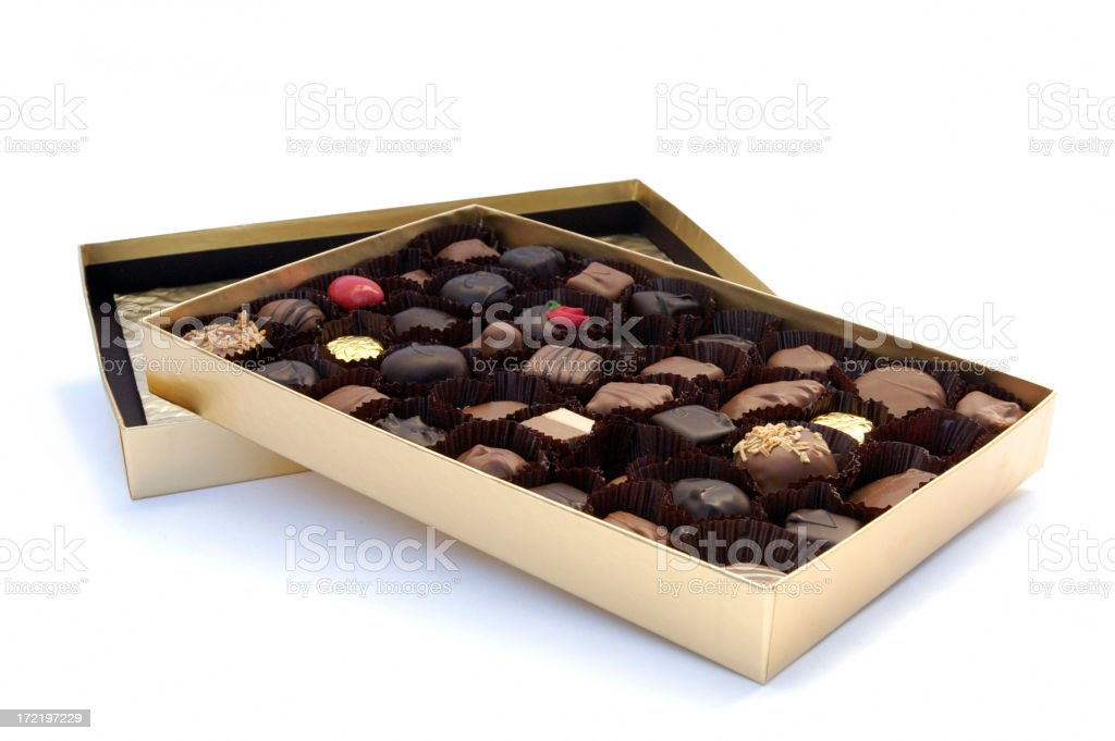 Box of chocolates on top of lid on white background stock photo