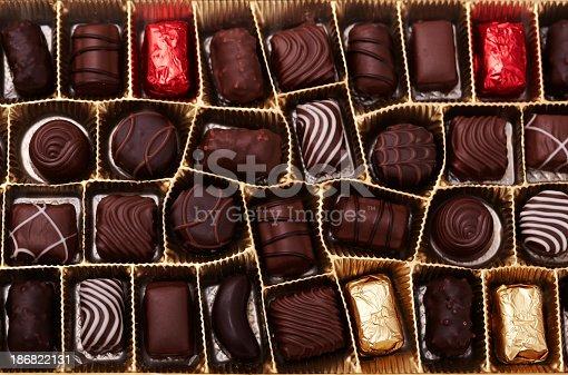 Chocolate pralines. Short depth-of-field