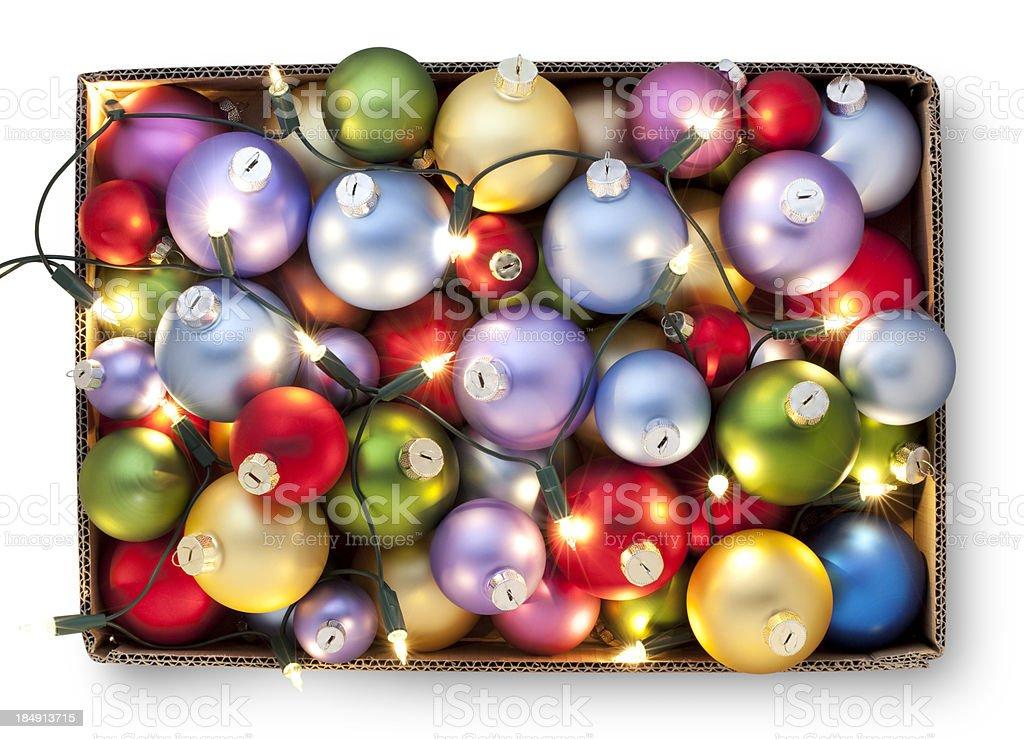 Box of Christmas balls and lights royalty-free stock photo