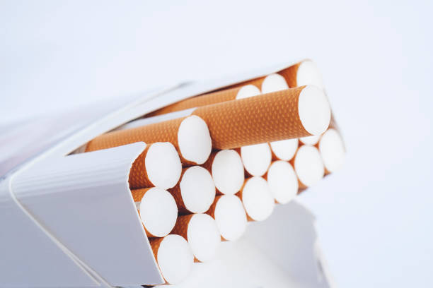 Box of cigarettes, isolated on a white stock photo