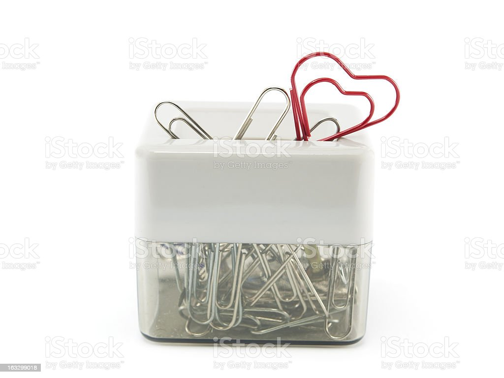 box of clips with clip red heart royalty-free stock photo