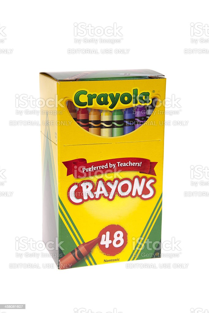 Box of Crayola Crayons stock photo