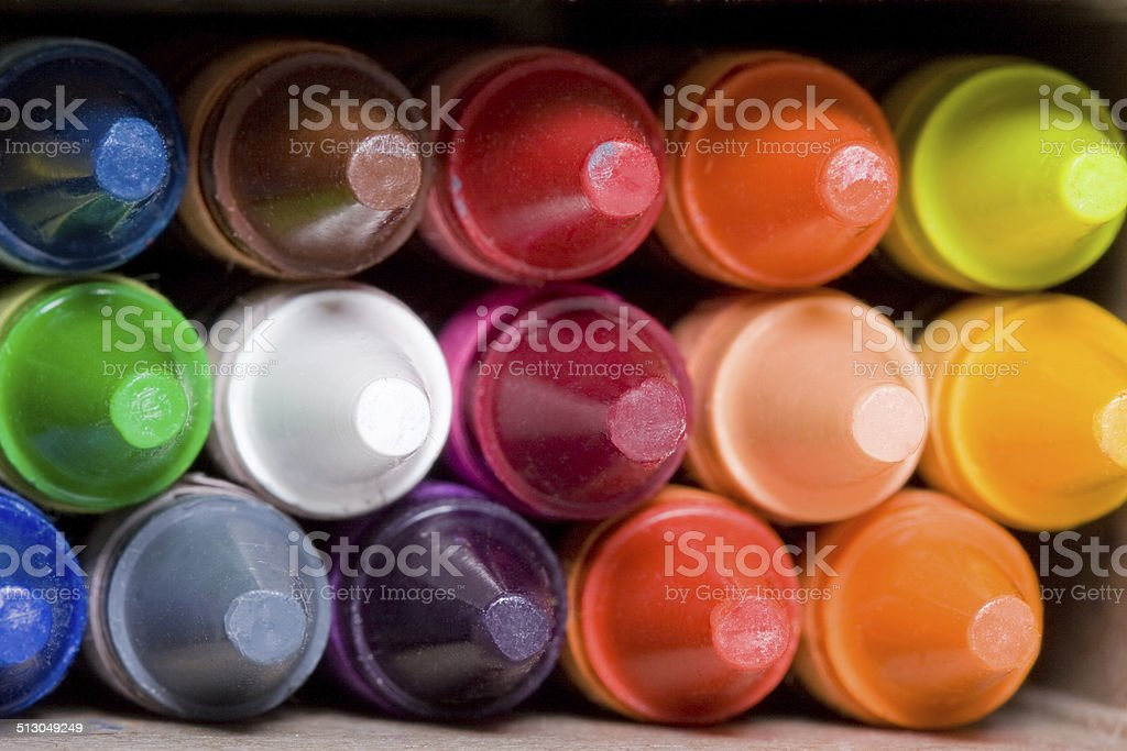 Box of crayons stock photo